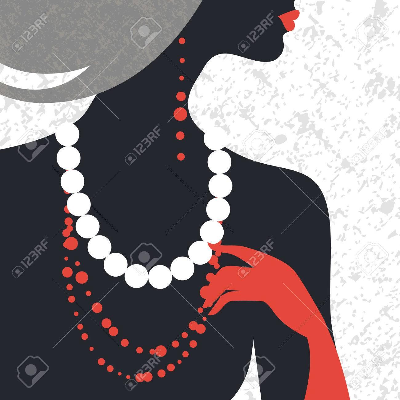 mode femme bijoux Belle silhouette de femme de mode. Design plat