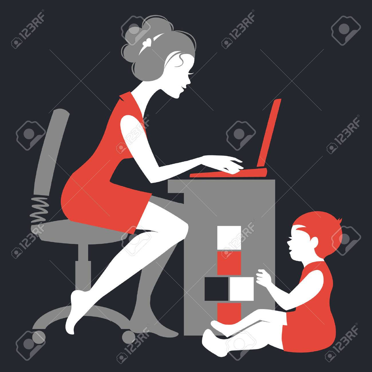 Beautiful silhouette of mother – freelancer with notebook and baby playing with toys Stock Vector - 22474280