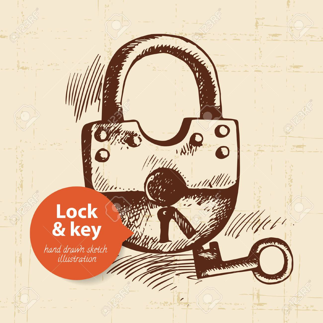 Hand Drawn Vintage Lock And Key Banner Stock Vector