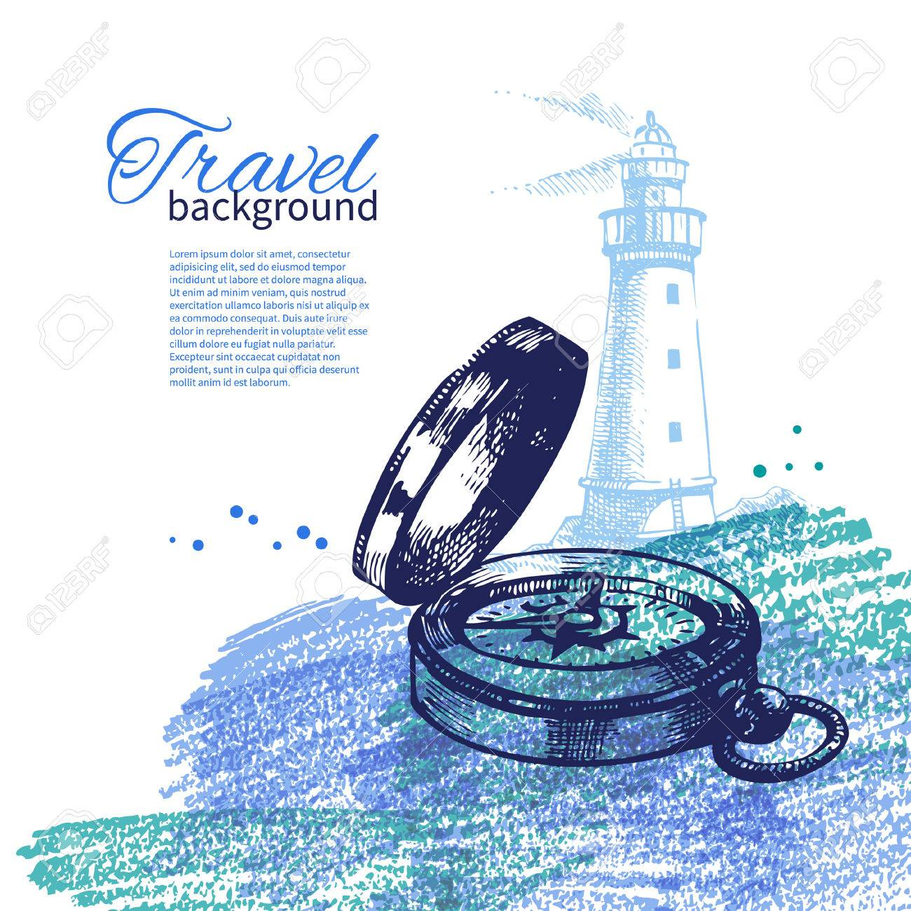 Travel vintage background. Sea nautical design. Hand drawn sketch and watercolor illustrations Stock Vector - 24468675