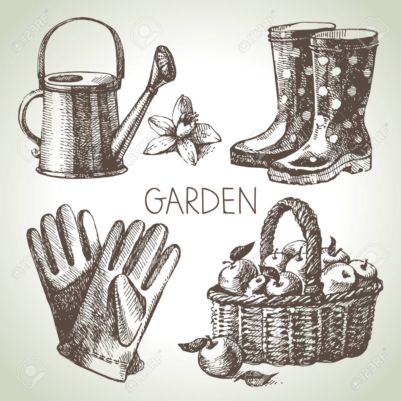 Sketch Gardening Set. Hand Drawn Design Elements Stock Vector   27670182