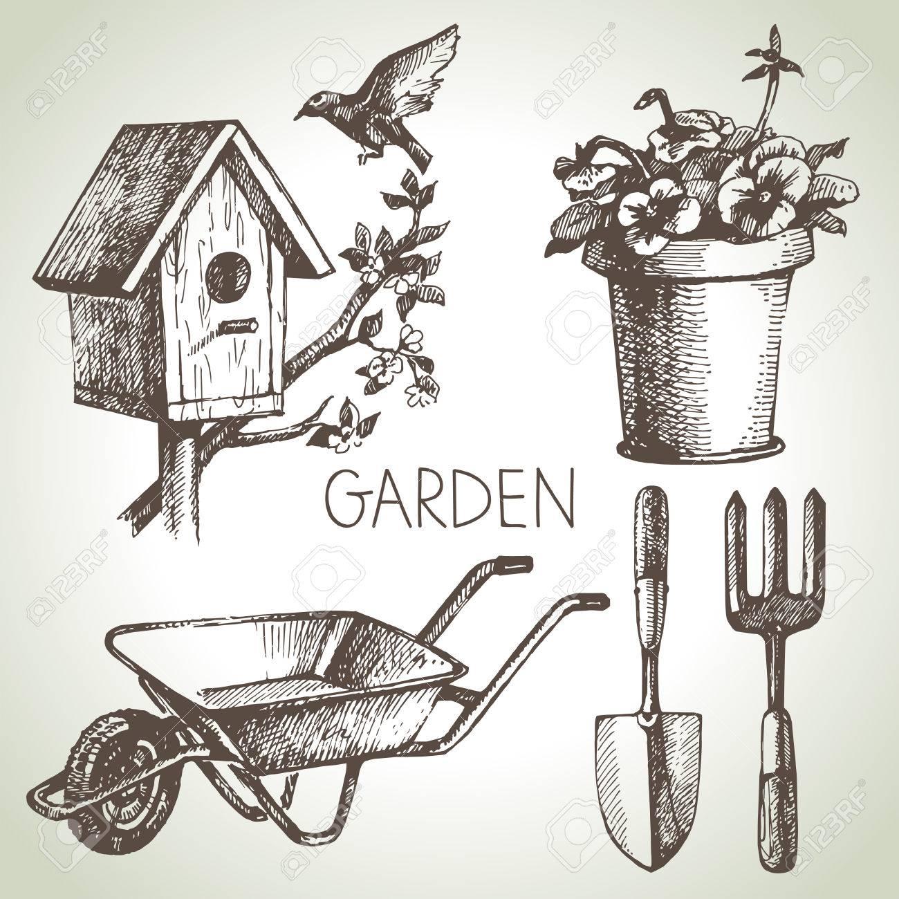 . Sketch gardening set  Hand drawn design elements