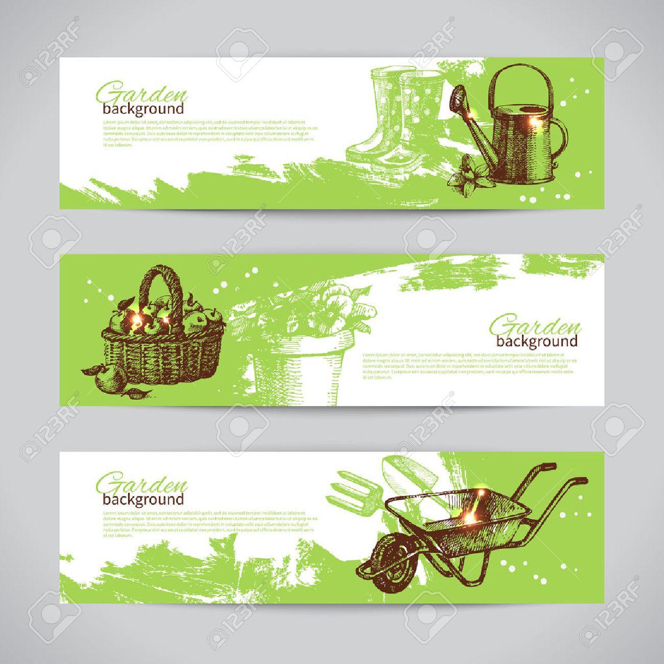 Conjunto De Plantillas De Banner De Jardinería Boceto. Dibujado A ...