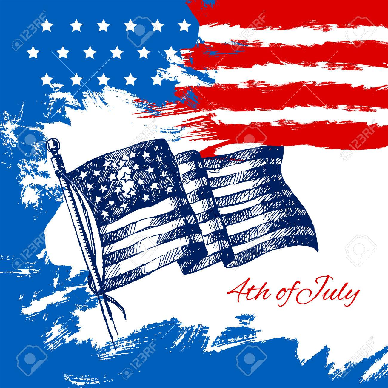 4th Of July Background With American Flag Independence Day Vintage