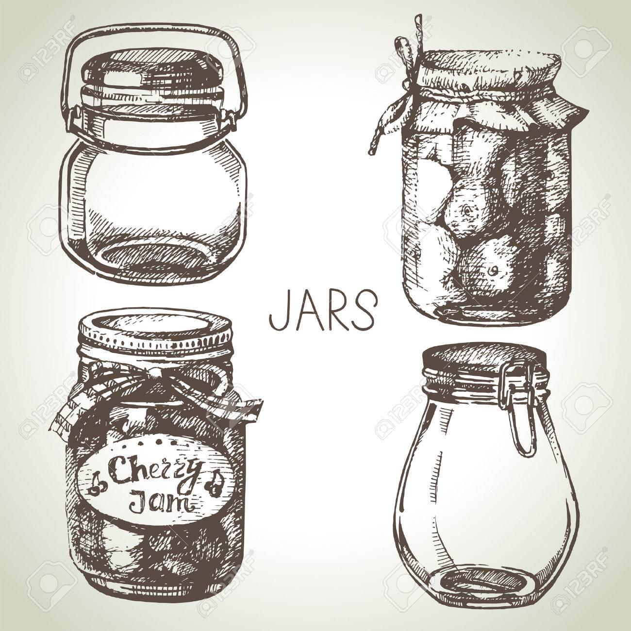 Jars Drawing Jars Hand Drawn Set