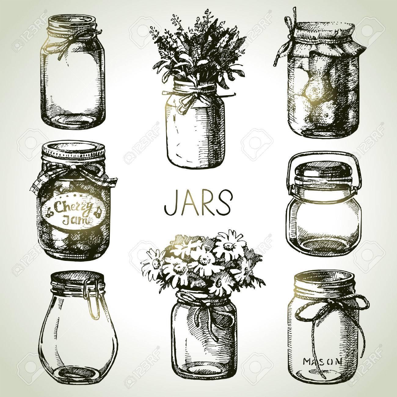 Rustic, mason and canning jars hand drawn set. Sketch design elements. Vector illustrations - 30493202