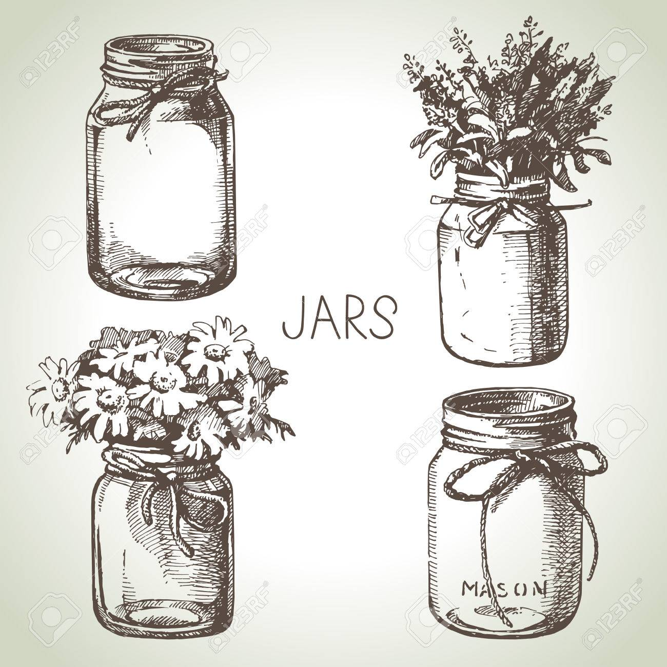 Rustic, mason and canning jars hand drawn set. Sketch design elements. Vector illustrations - 30493216