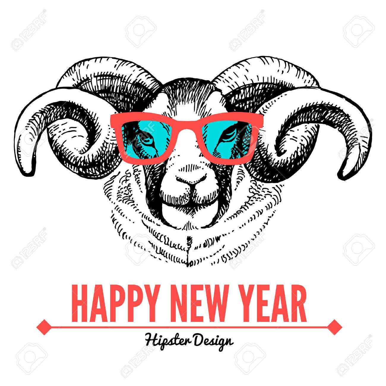 merry christmas and happy new year card with sketch portrait of hipster sheep hand drawn