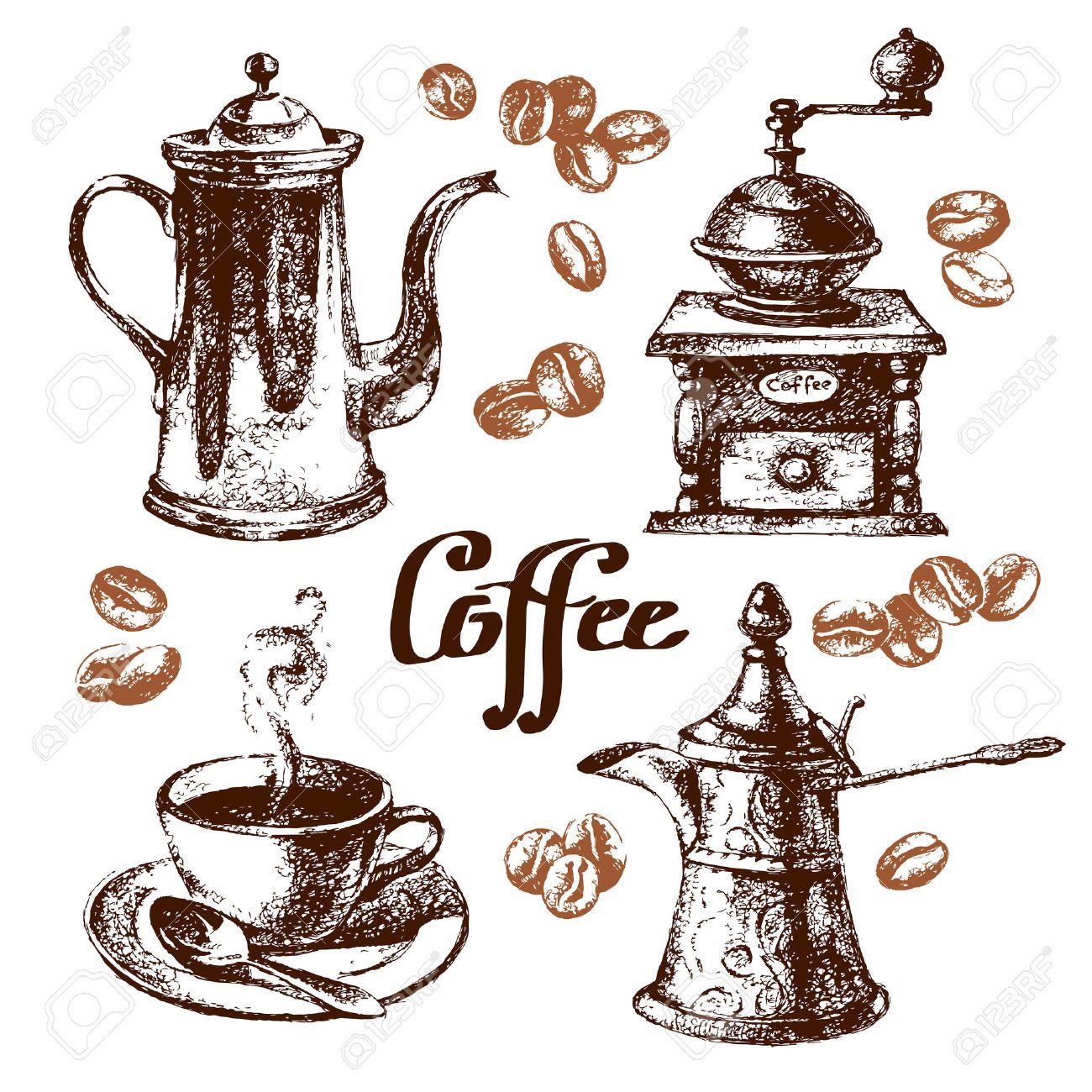 手描きのスケッチ ビンテージ コーヒーを設定しますベクトル イラスト