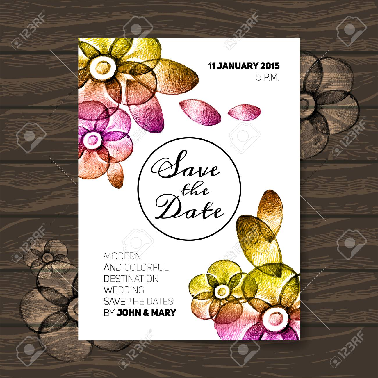 vintage wedding invitation with flowers save the date design
