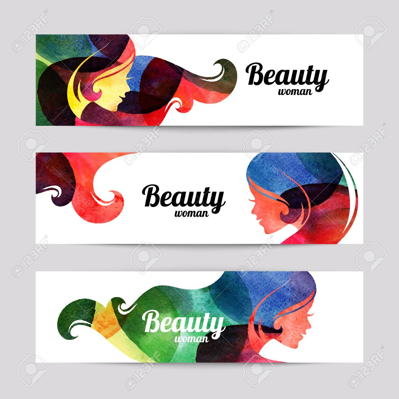 Set Of Banners With Watercolor Beautiful Girl Silhouettes Vector Royalty Free Cliparts Vectors And Stock Illustration Image 35433400