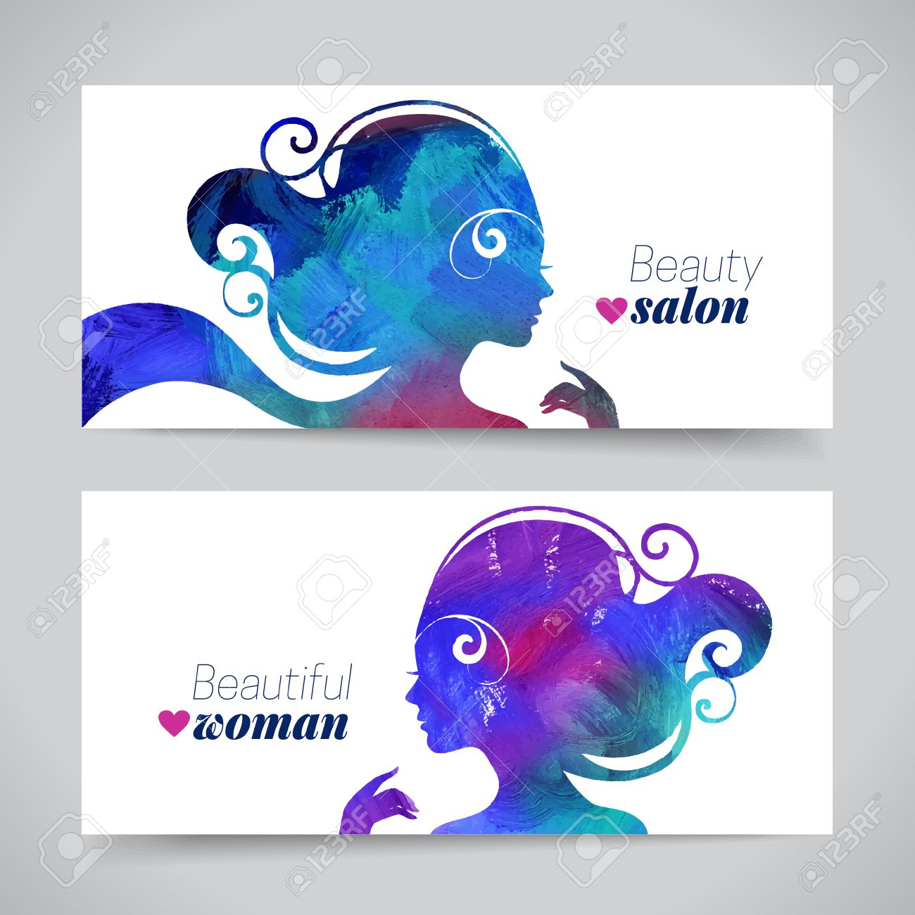 Set of banners with acrylic beautiful girl silhouettes. Vector illustration of painting woman beauty salon design - 36830977