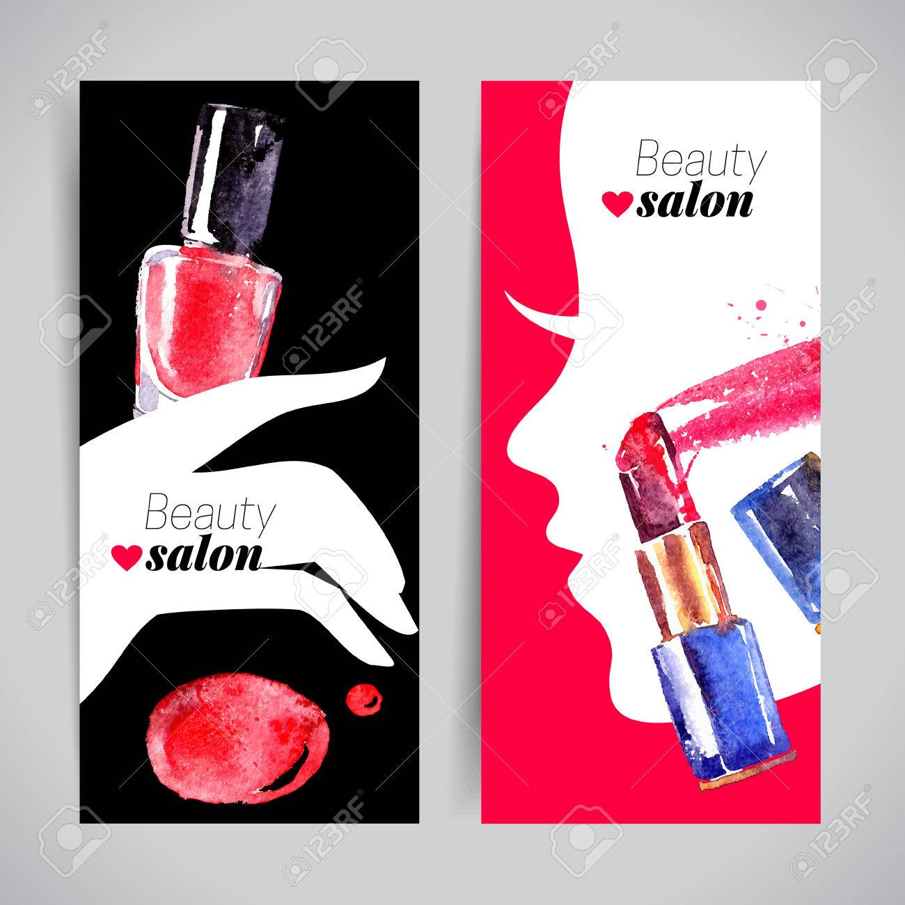 Watercolor Cosmetics Banner Set Vector Illustration Beauty Salon Design Stock