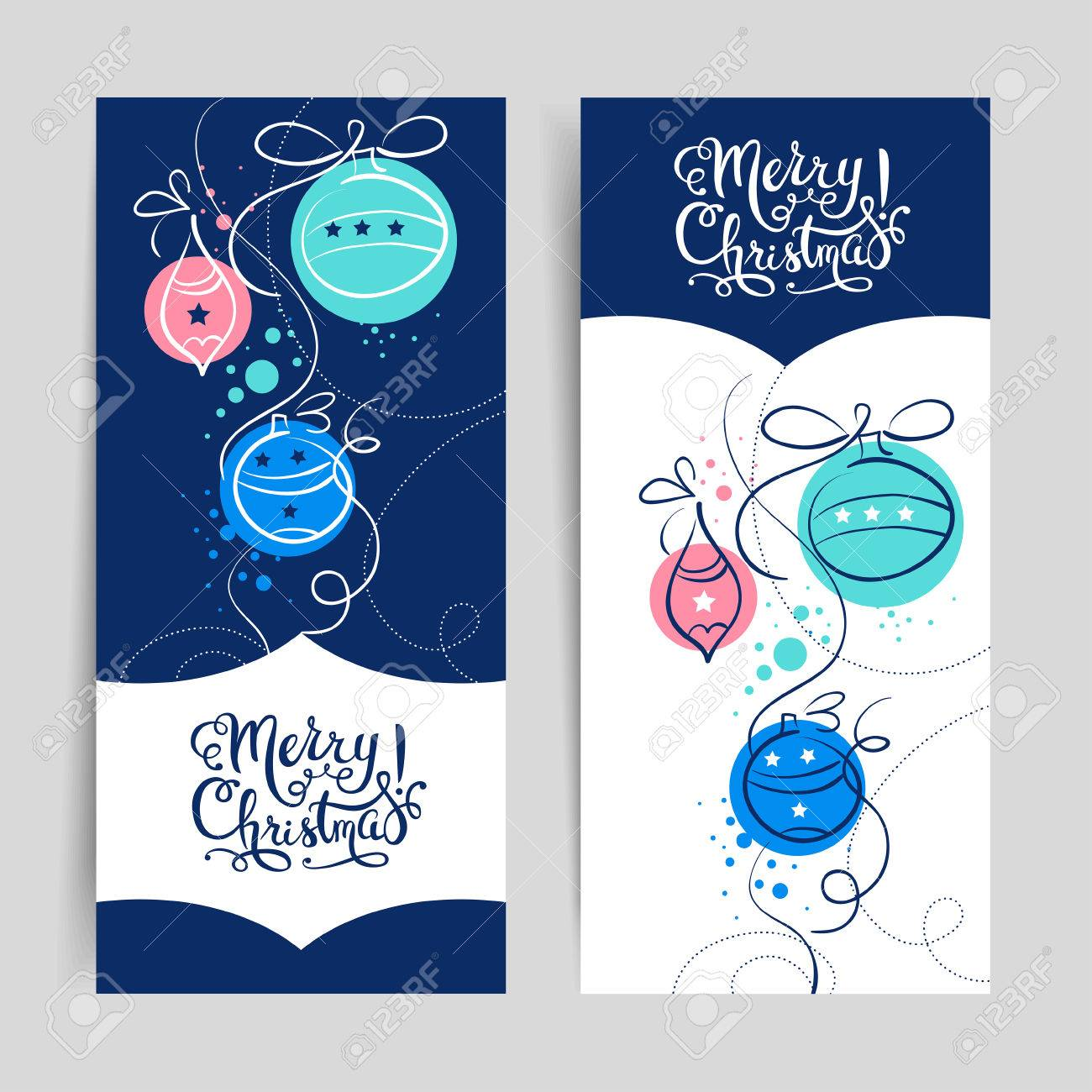 Merry Christmas Vintage Banners Happy New Year Cards Vector