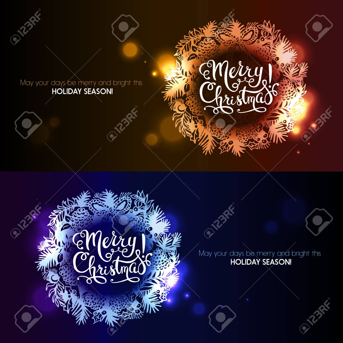 merry christmas hand drawn sketch gold glossy wreath banner set happy new year cards stock
