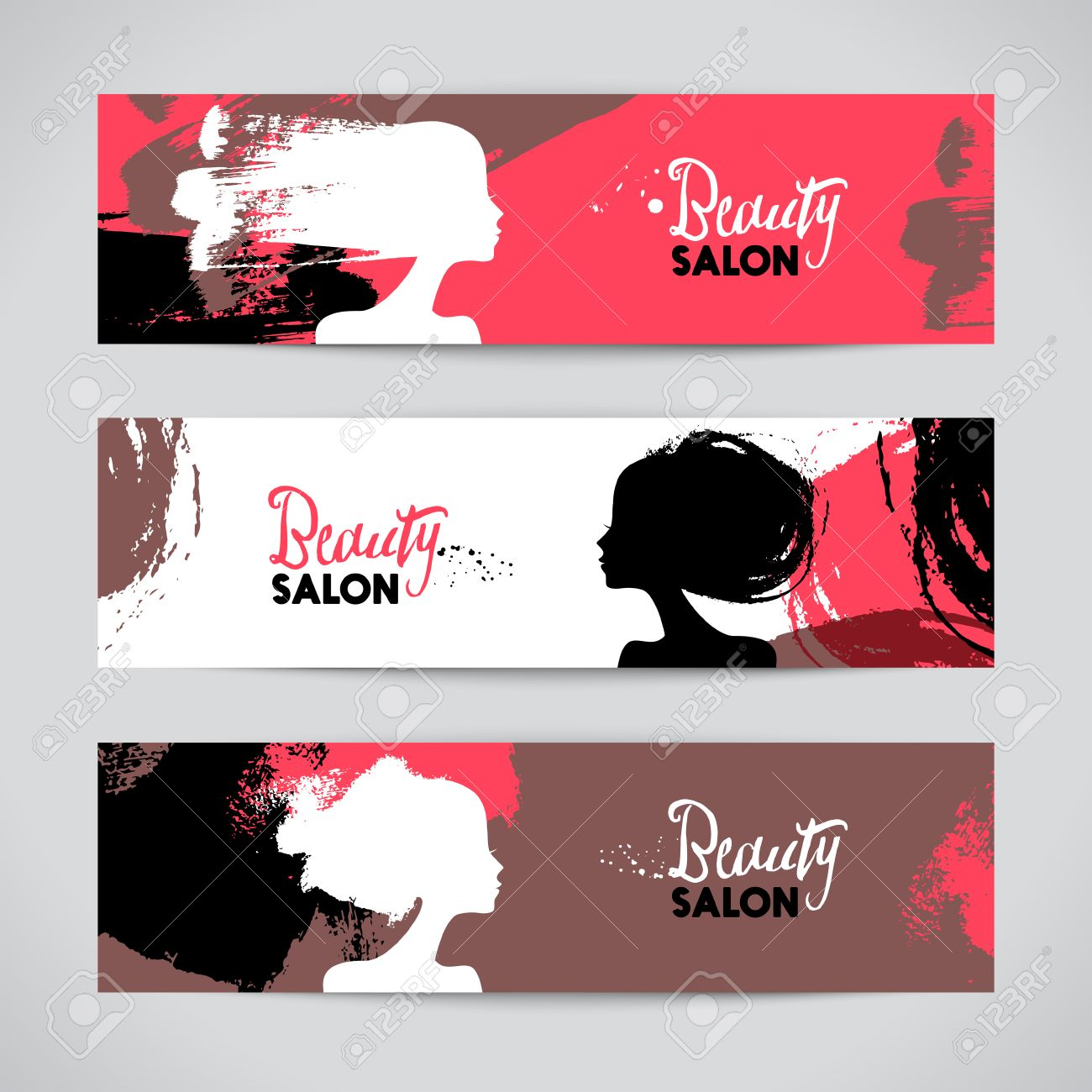 Set Of Banners With Acrylic Beautiful Girl Silhouettes Vector Stock Photo Picture And Royalty Free Image Image 47597123
