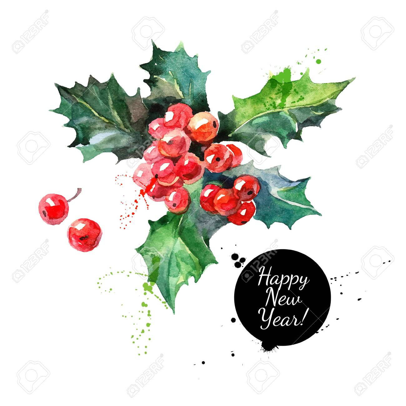 Watercolor Christmas holly branch with berry. Happy new year card - 137842215