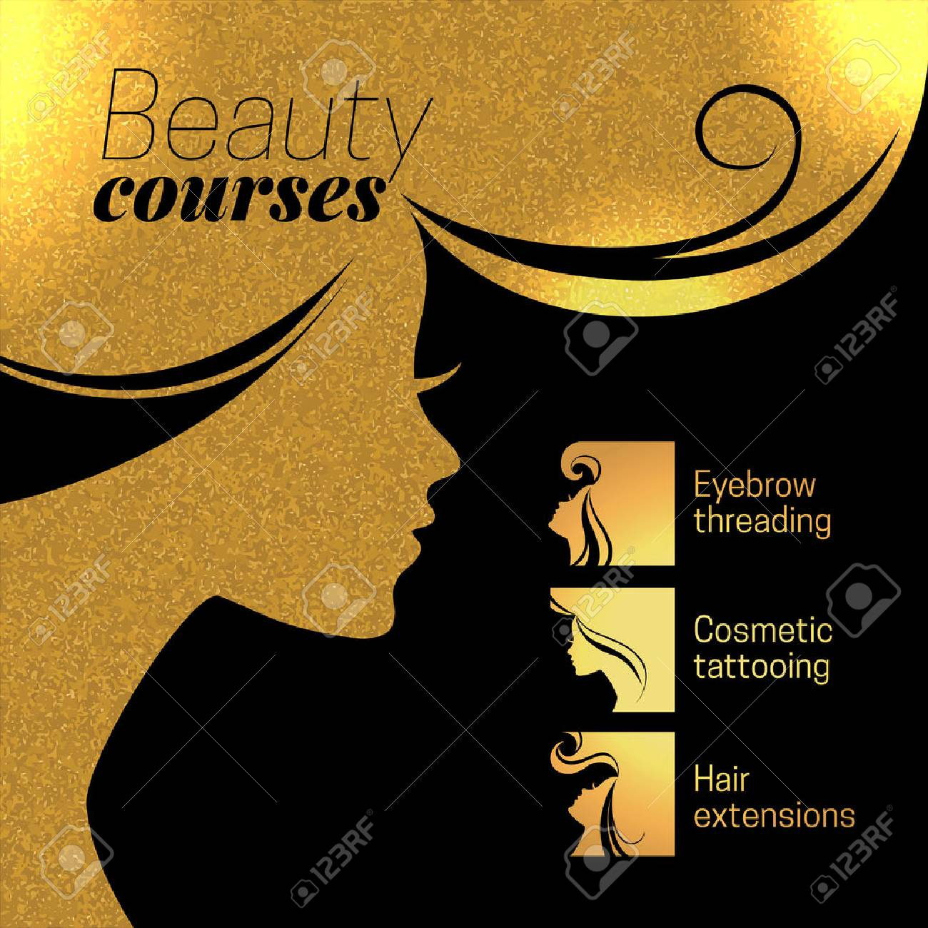 Gold beautiful girl silhouette. Vector illustration of woman beauty salon design. Infographics for cosmetic salon. Beauty courses and training poster Stock Vector - 48483948