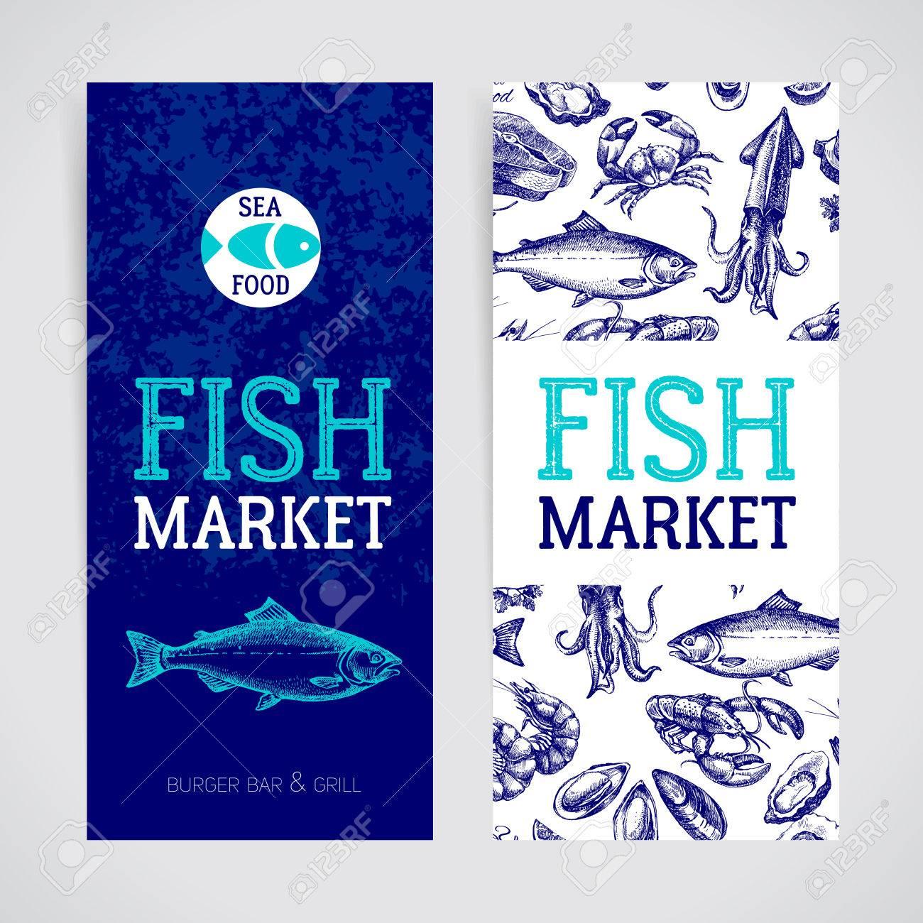 Restaurant Fresh Sea Food Menu Banners Set Fish Market Pakage And Poster