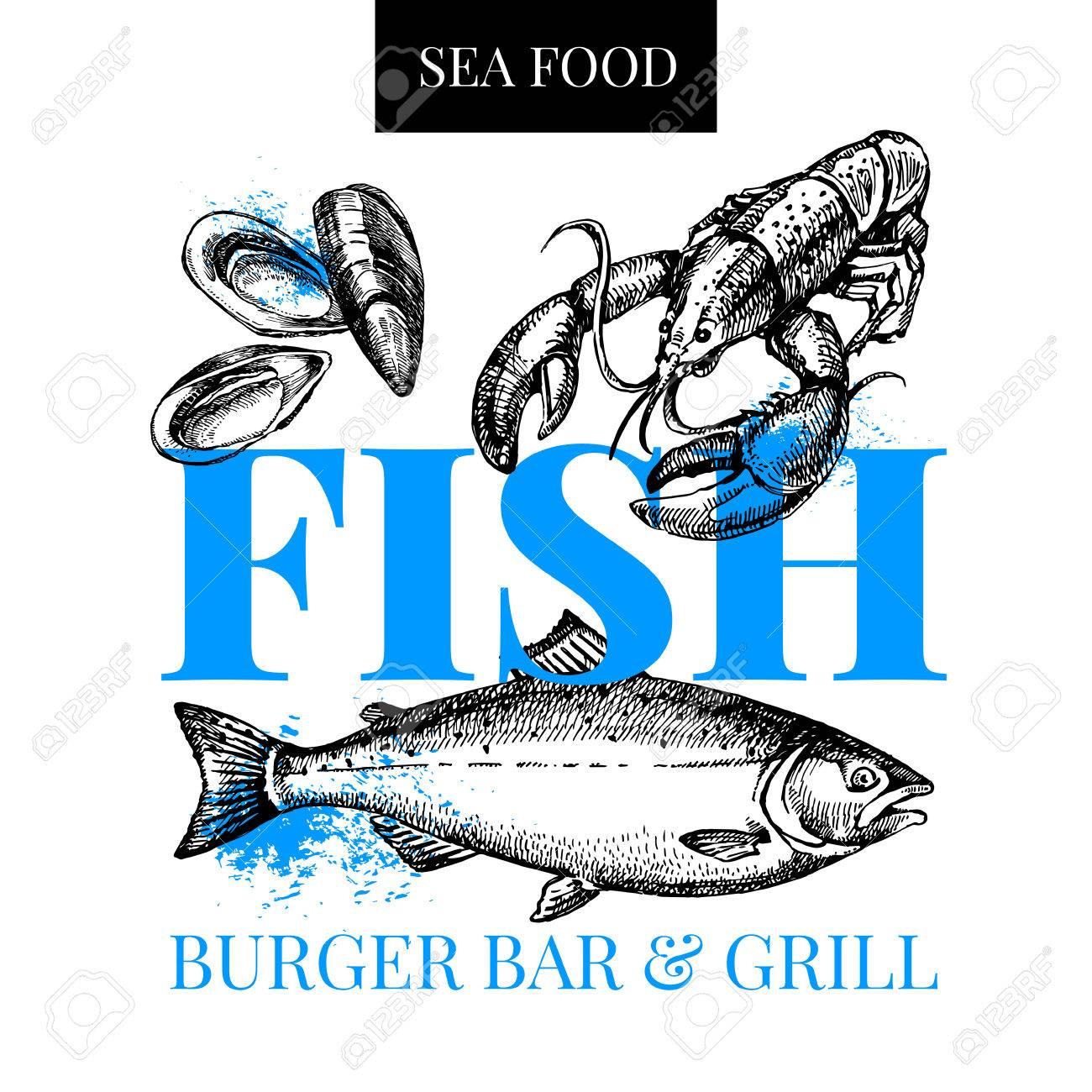 Restaurant Fresh Sea Food Menu Fish Market Poster Hand Drawn Sketch Vector Illustration Stock