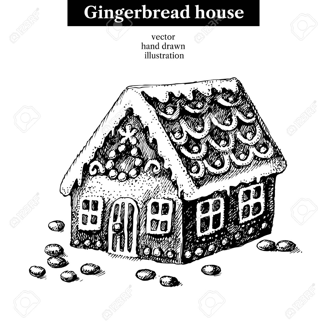 Christmas Gingerbread House Drawing.Hand Drawn Sketch Merry Christmas And Happy New Year Sweet Gingerbread