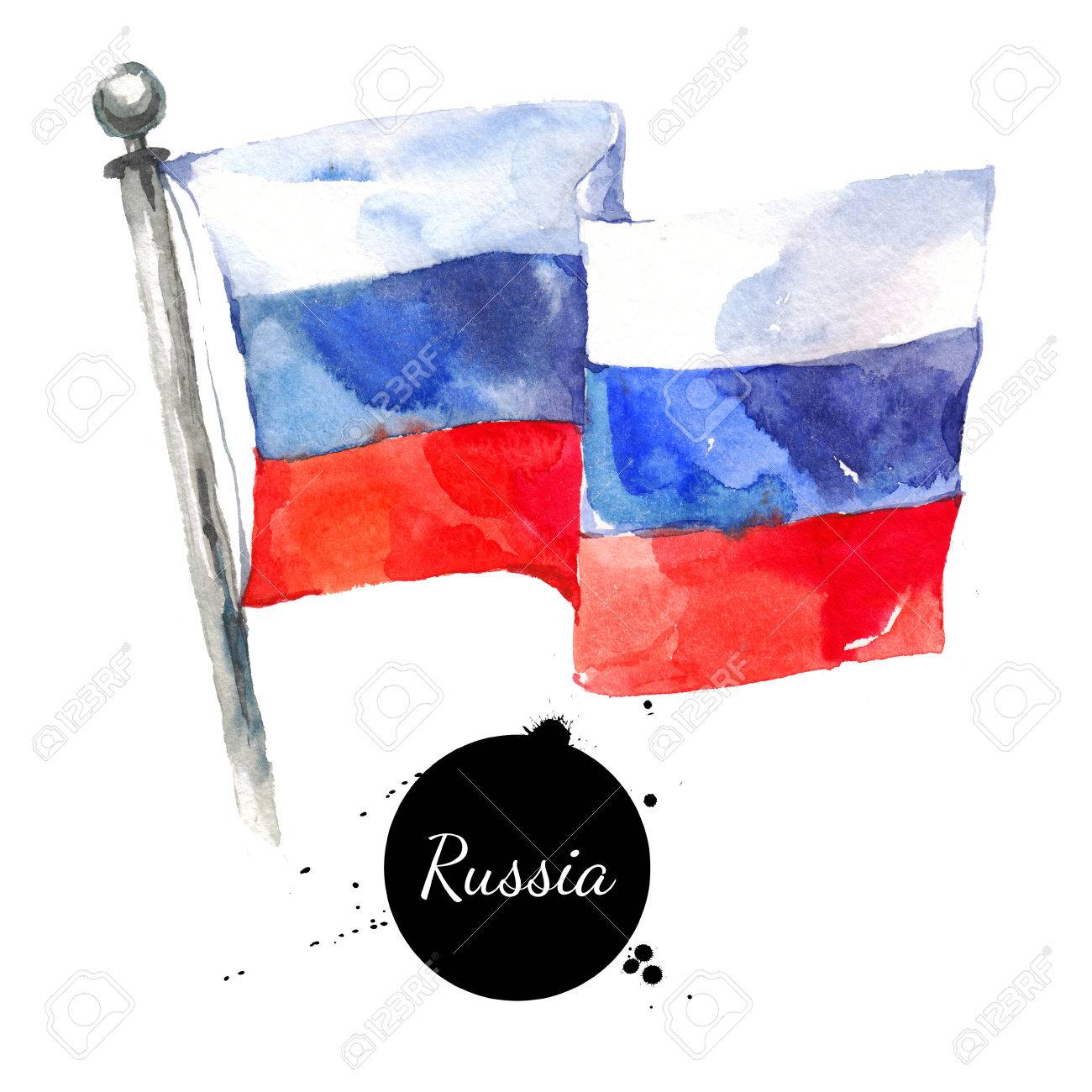 watercolor russia flag hand drawn russian flag illustration