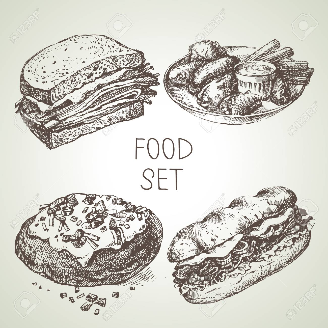 Hand drawn food sketch set of steak sub sandwich, buffalo chicken wings, backed potato, beef sandwich. Vector black and white vintage illustrations - 92872684