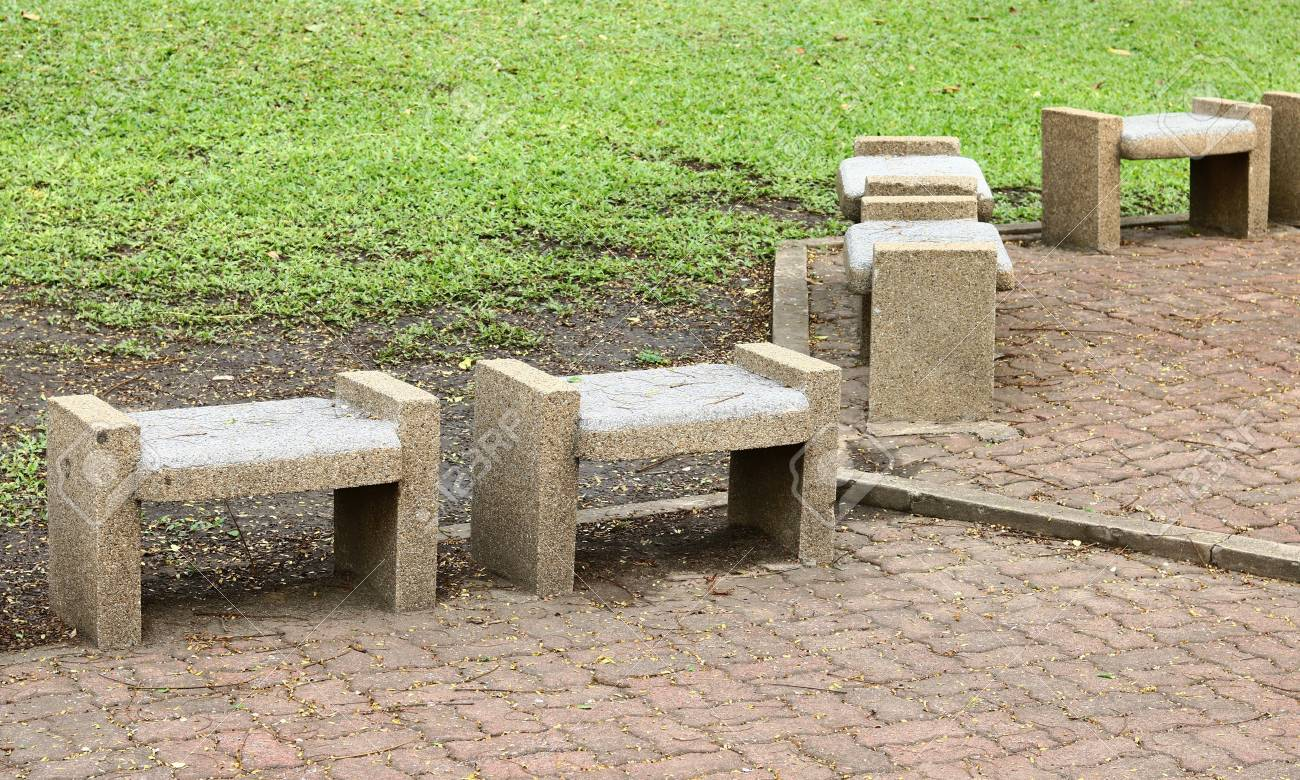 Fabulous Stone Benches Seats In The Park Bralicious Painted Fabric Chair Ideas Braliciousco