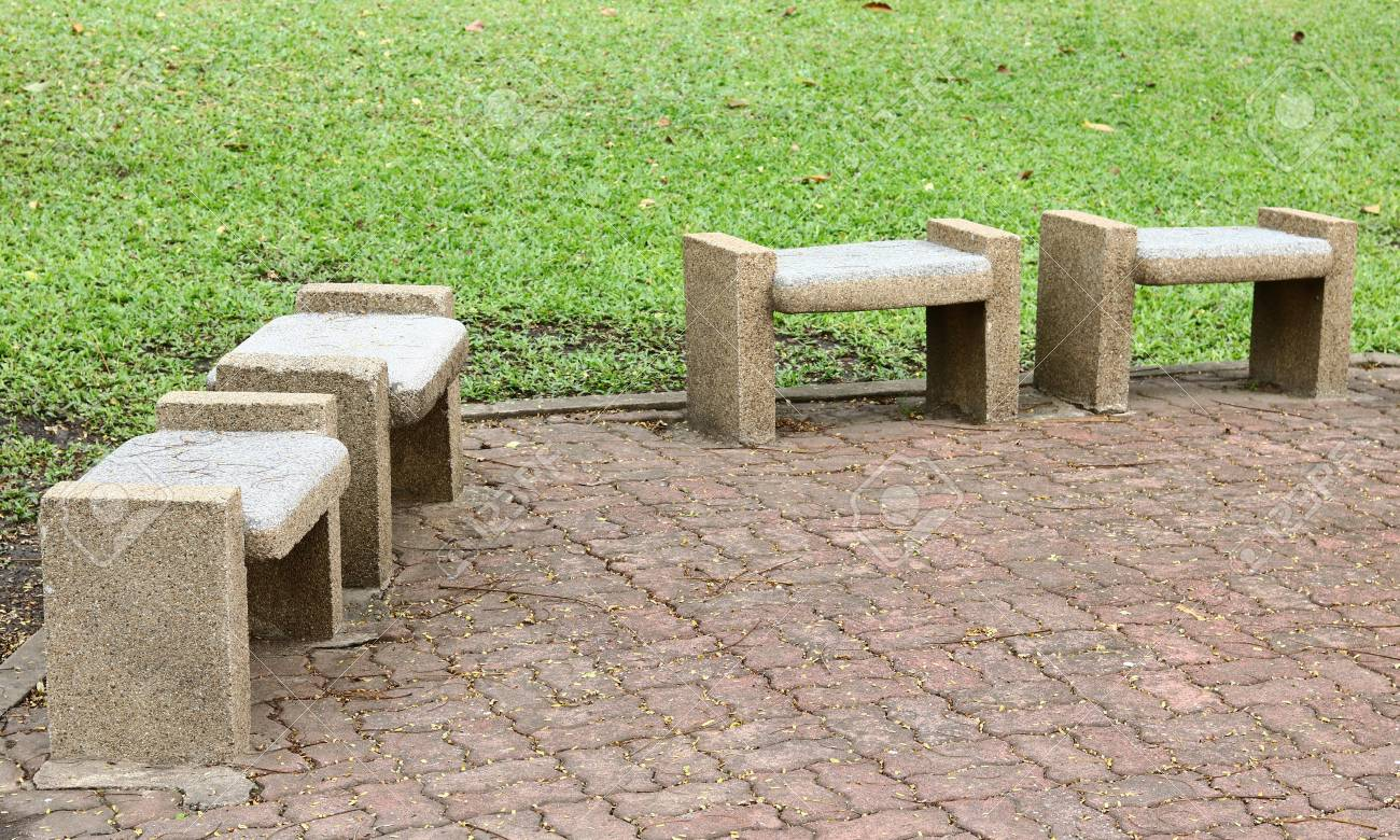 Astonishing Stone Benches Seats In The Park Bralicious Painted Fabric Chair Ideas Braliciousco