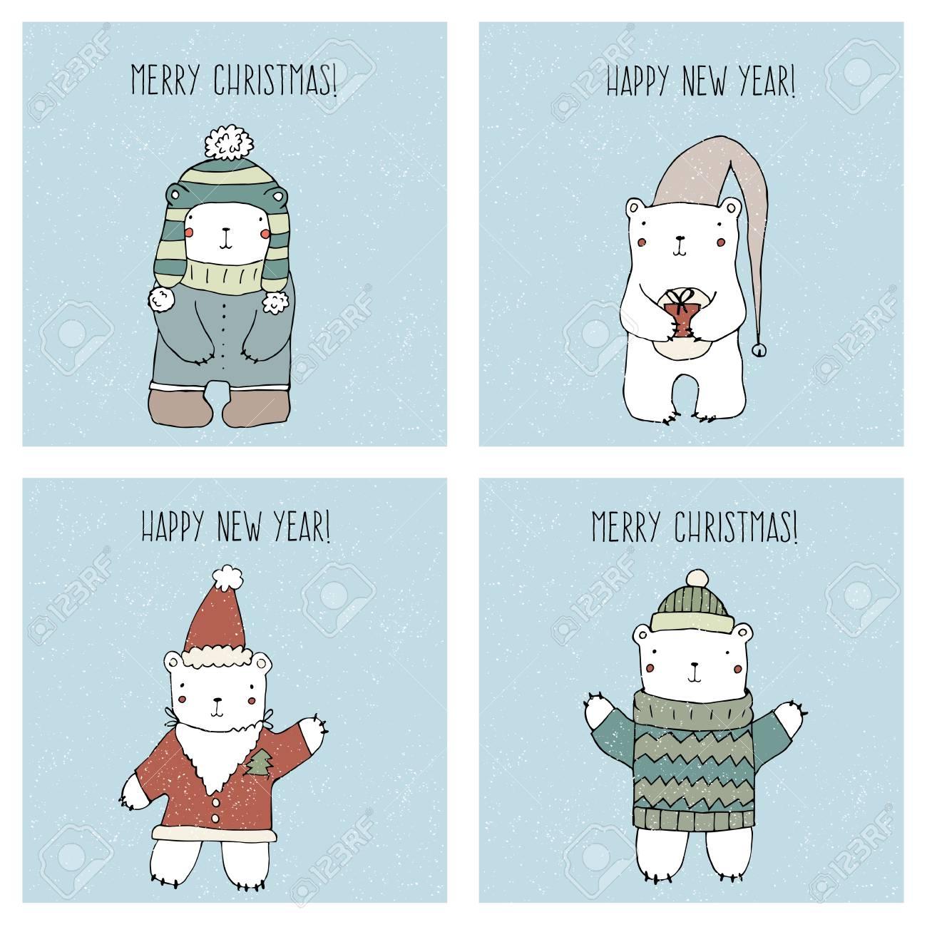 Set Of Christmas Cards Templates With Cute Polar Bears Templates