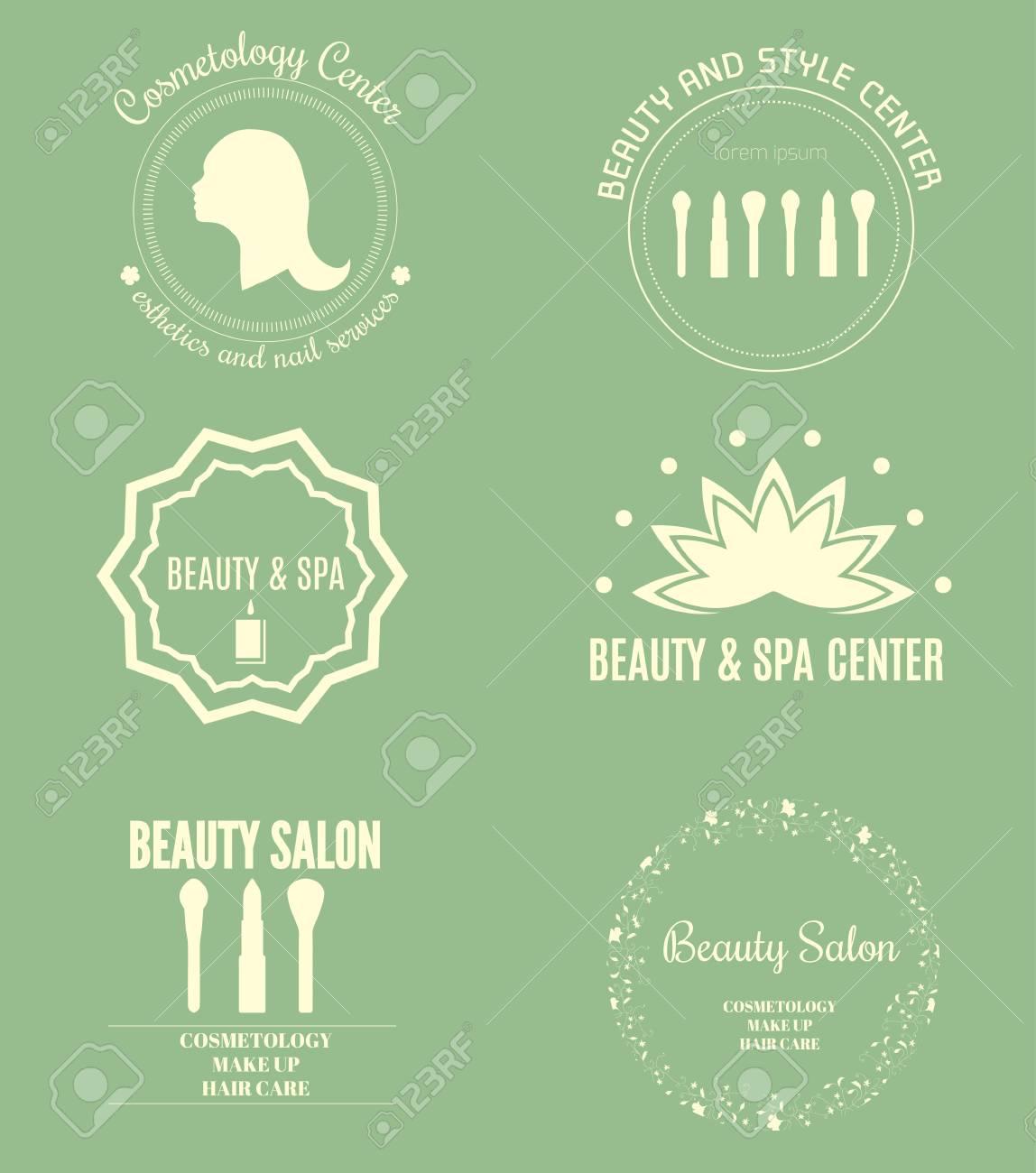 Conjunto De Plantillas De Logotipo Moderno Belleza Y Spa. Etiquetas ...