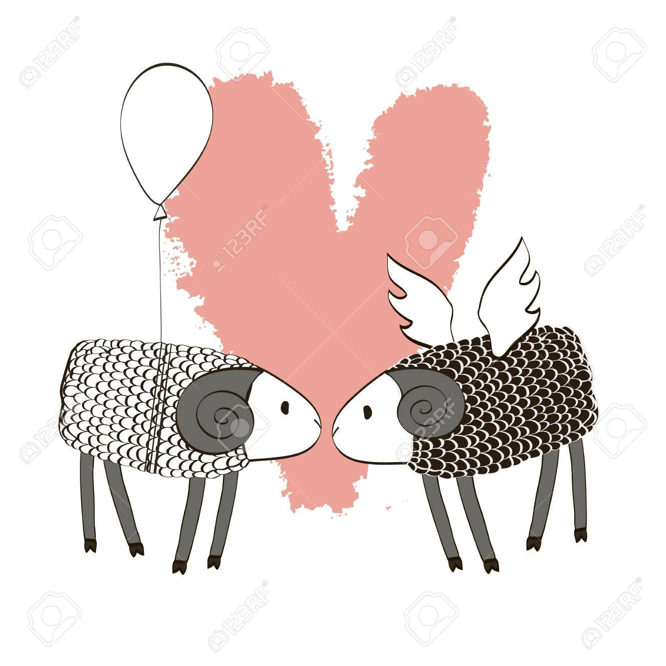 Two Lambs With Wings And Baloon. Romantic Couple Sheep. Template ...