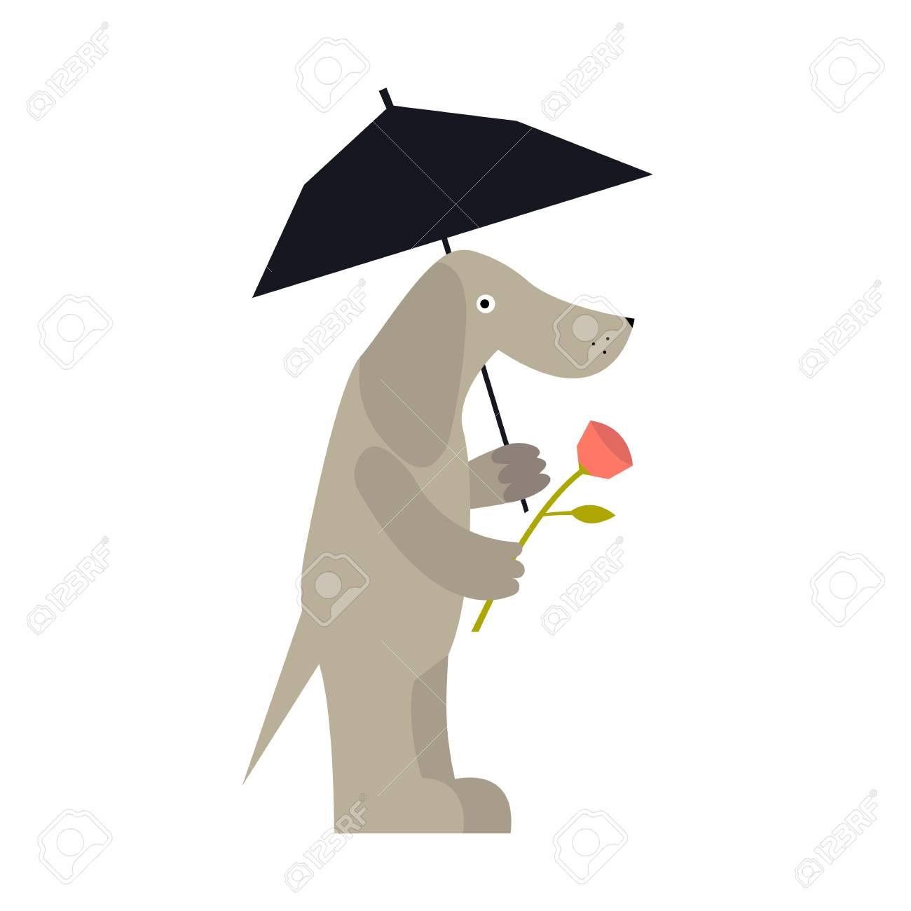 傘とローズの恋人を待っているかわいい犬漫画の背景に分離された犬の