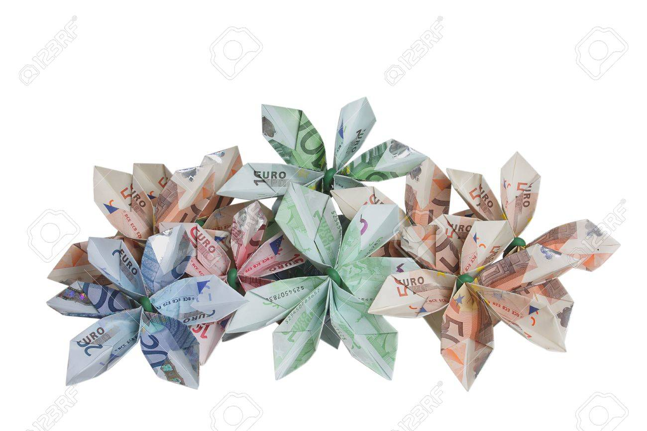 Bouquet Of Flowers Origami Made By Bills Of Different Values Stock