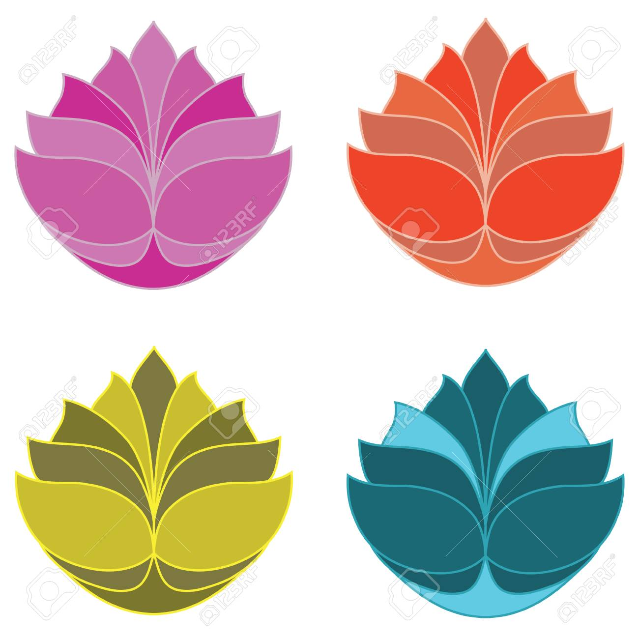 The Lotus In Four Colours Royalty Free Cliparts Vectors And Stock