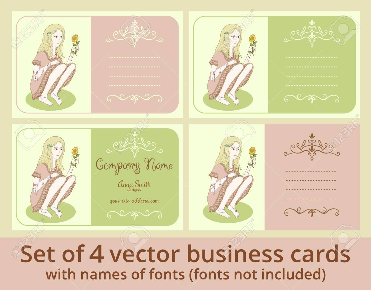 stock photo vector business cards template set girl with sunflower cards for beauty salon design studio barber or make up artist