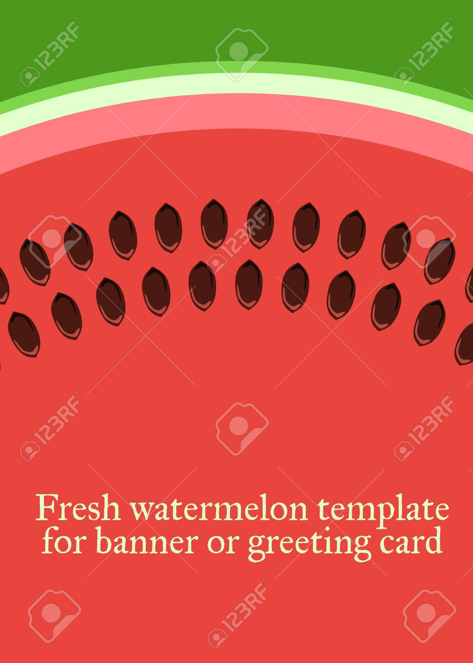 watermelon vector template for greeting card or banner royalty free