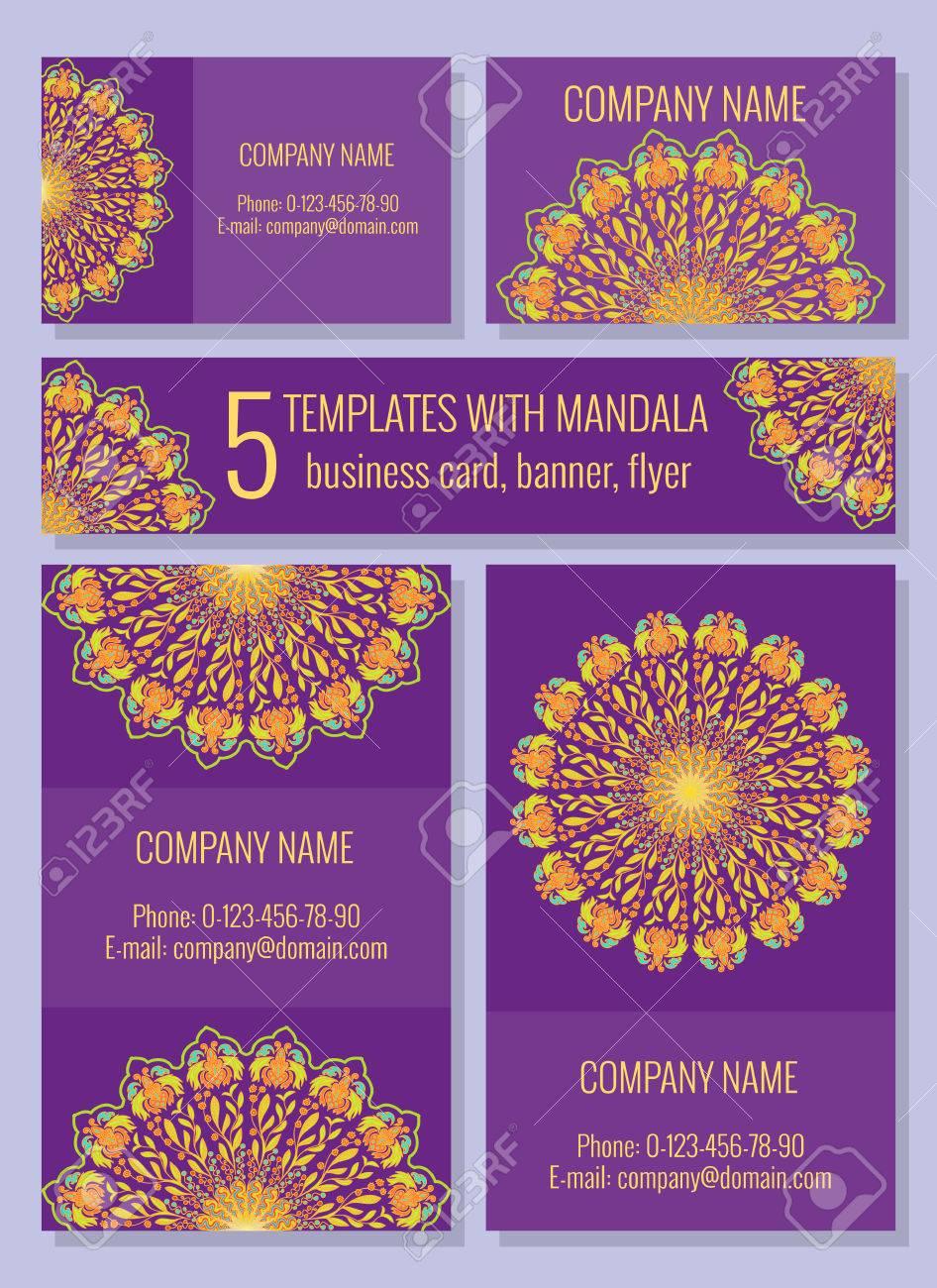 Modeles Lumineux Avec Mandala Carte De Visite Banniere Flyer Pour