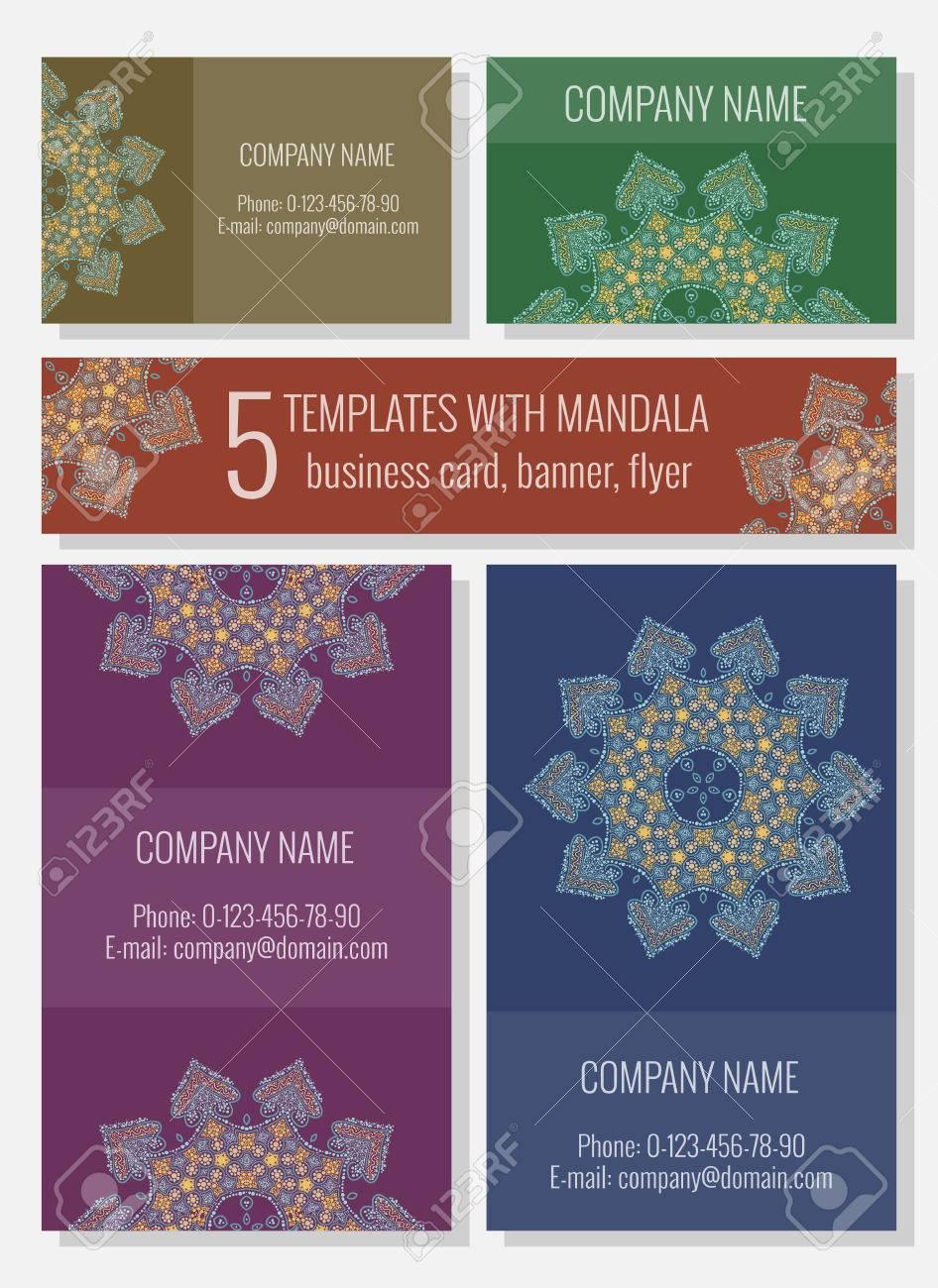 Modeles Avec Mandala Arabesque Carte De Visite Banniere Flyer
