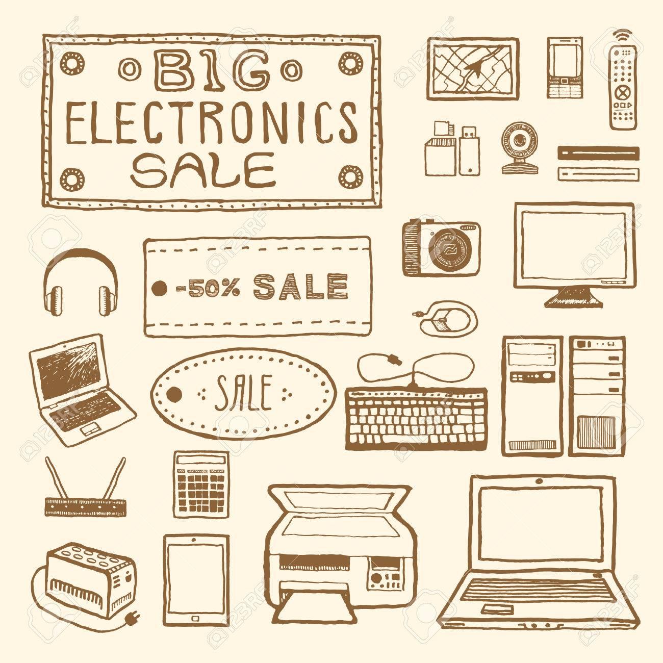 Big électronique vente. Ensemble de dispositifs électroniques. Vintage style, plume et encre tirée par la main. Vector clip art pour le scrapbooking