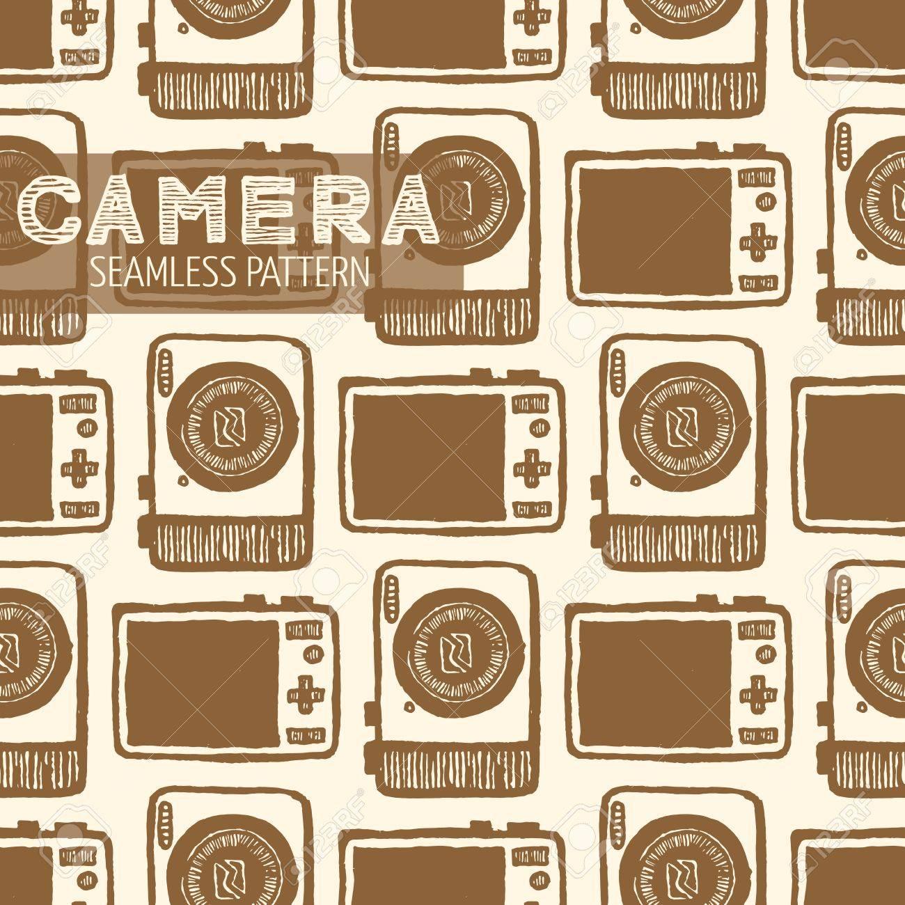 Pocket size appareil photo numérique avant et arrière pattern. Vintage style, plume et encre tirée par la main. Vector seamless pattern. Retro élément