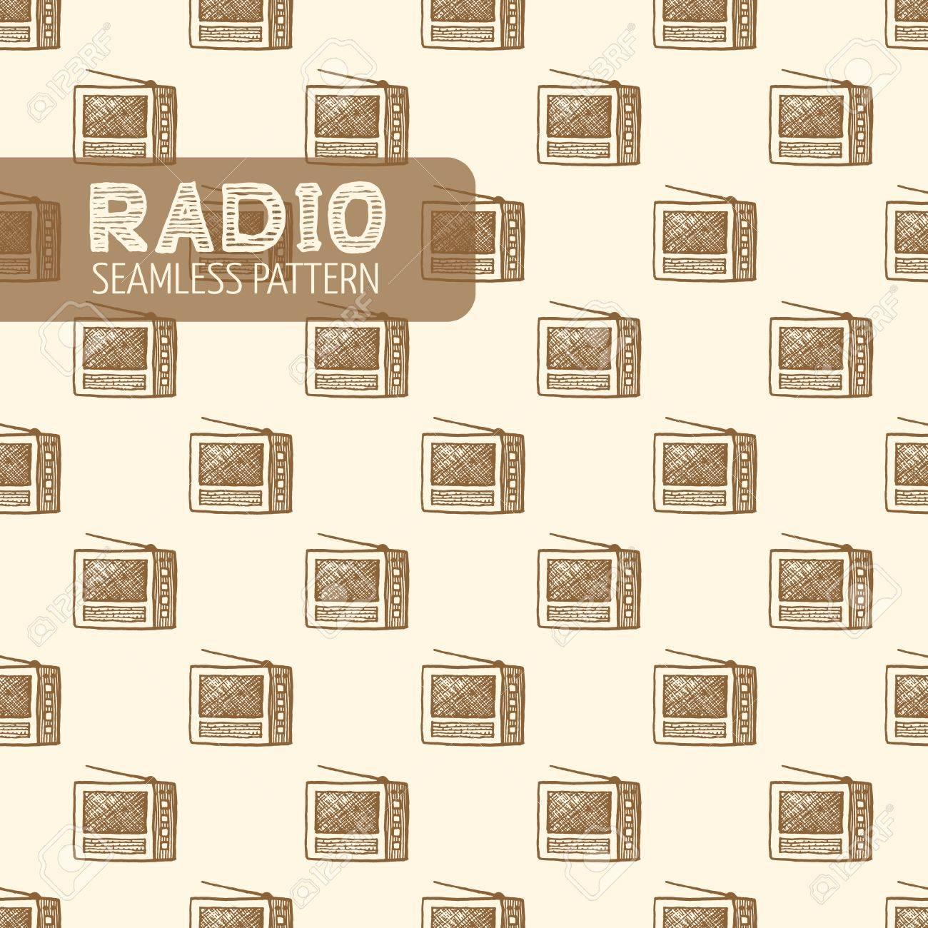 Old radio seamless. Vintage style, plume et encre tirée par la main. Vector seamless pattern. Retro élément de design pour l'emballage magasin