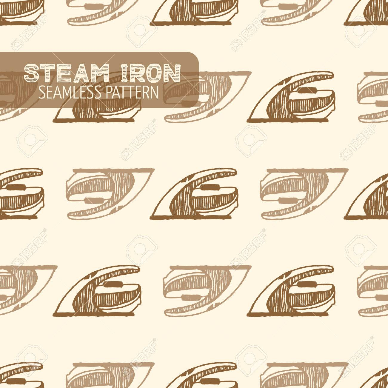Lissage vapeur Fer pattern. Vintage style, plume et encre tirée par la main. Vector seamless pattern. Retro élément de design pour l'emballage magasin