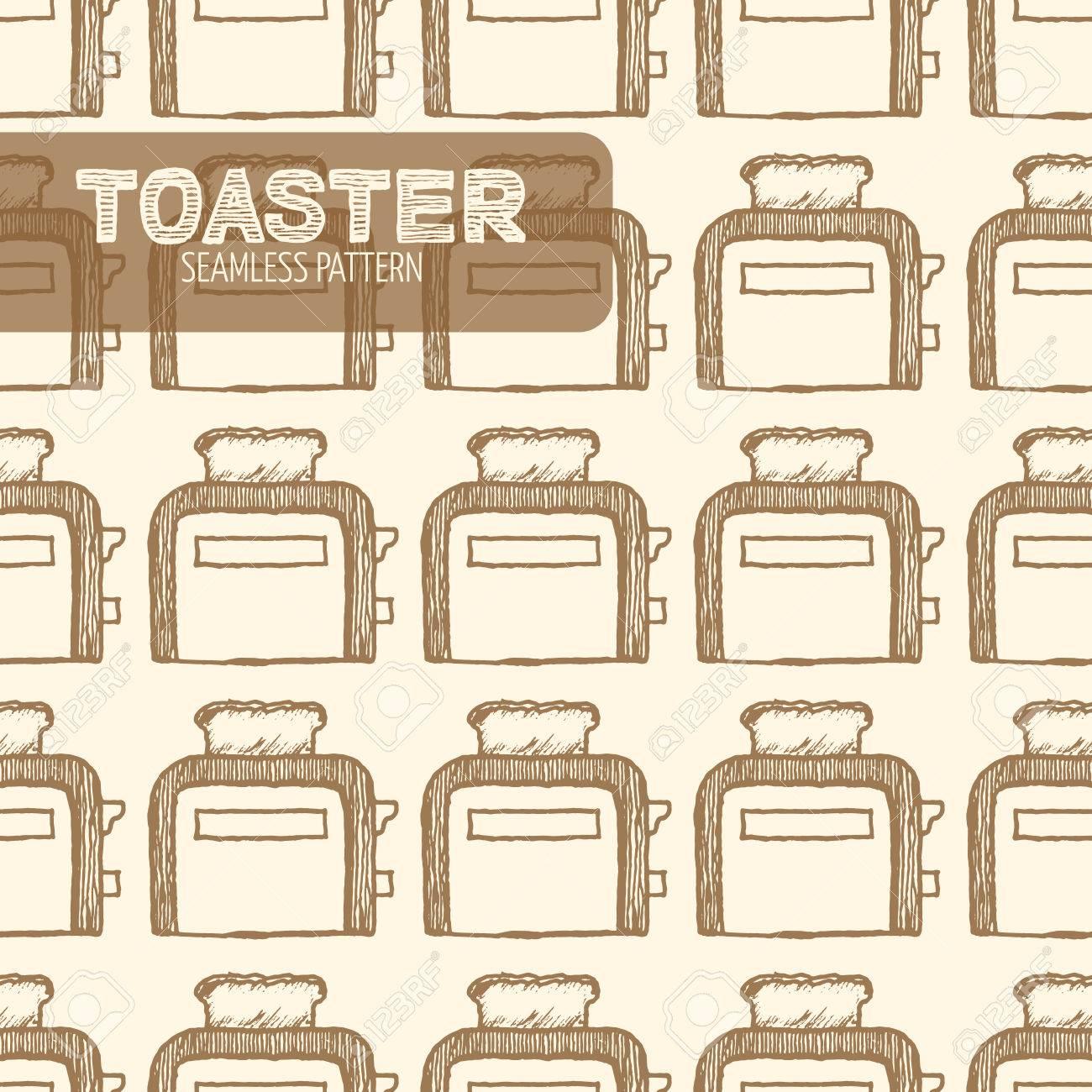 Toaster seamless pattern. Vintage style, plume et encre tirée par la main. Vector seamless pattern. Retro élément de design pour l'emballage magasin