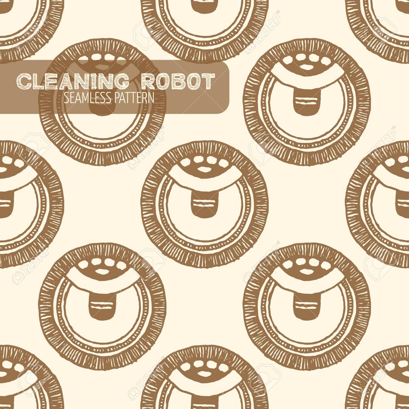 Aspirateur robot de nettoyage seamless pattern. Vintage style, plume et encre tirée par la main. Vector seamless pattern. Retro élément de design pour
