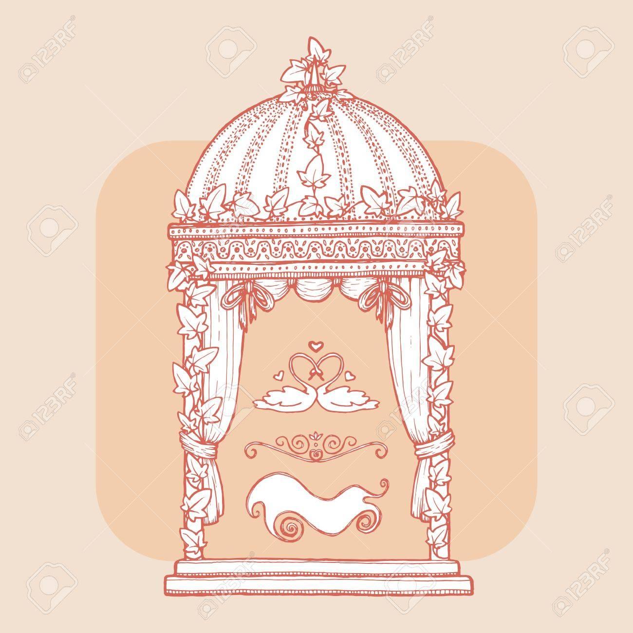 Ivy-covered Wedding Gazebo. Design Element For Wedding Greeting ...