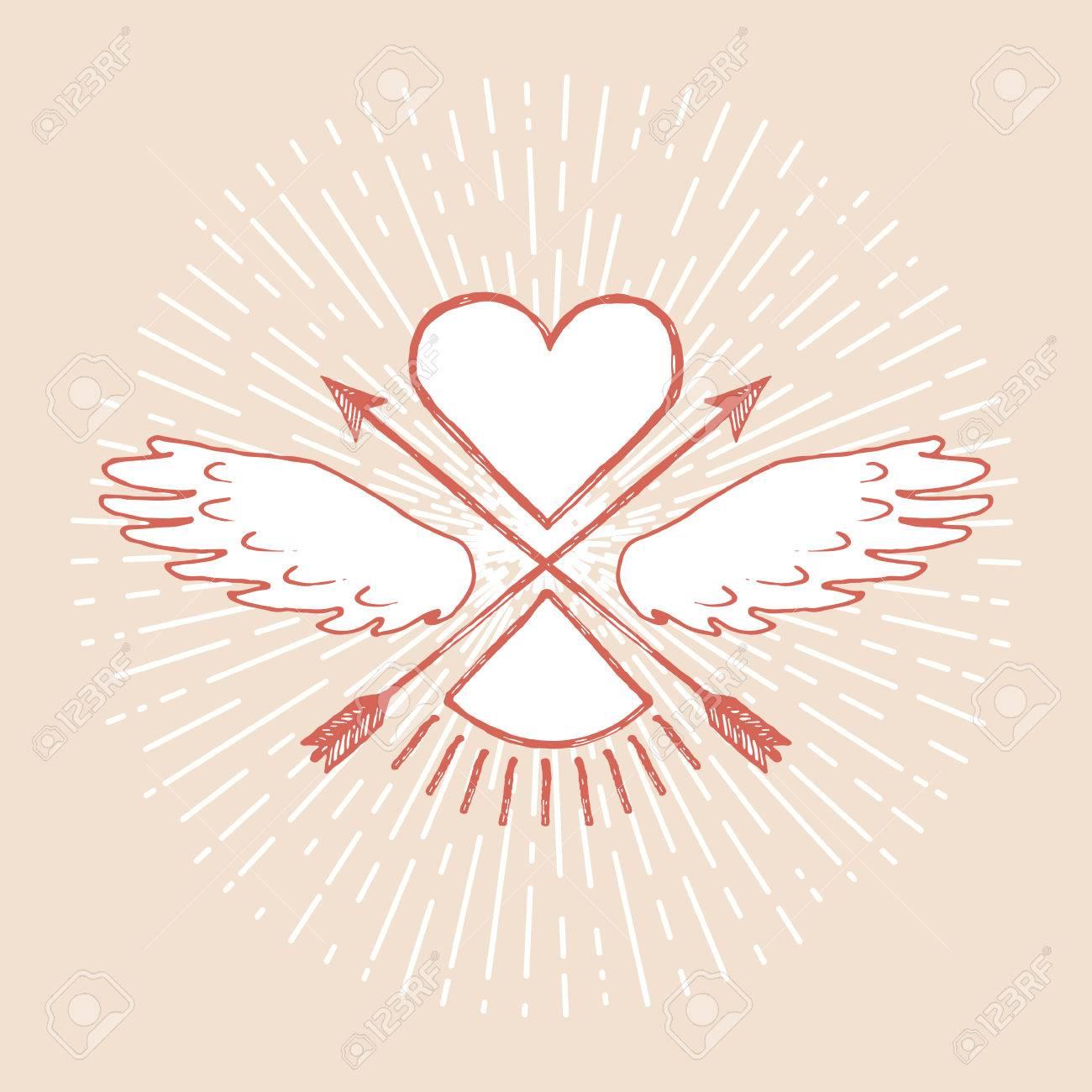 Herz Mit Flügeln Und Pfeile. Design Element Für Die Hochzeit Grußkarte,  Valentinsgrußtag Einladung