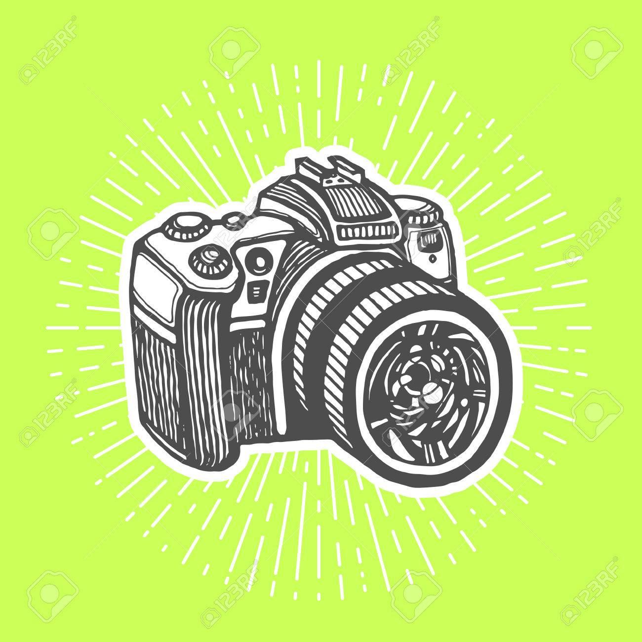 Appareil Photo Numrique DSLR Vintage Style Plume Et Encre Tire Par La Main Vector Clip Art Flyer Carte De Visite Magasin Dlectronique Ou Un