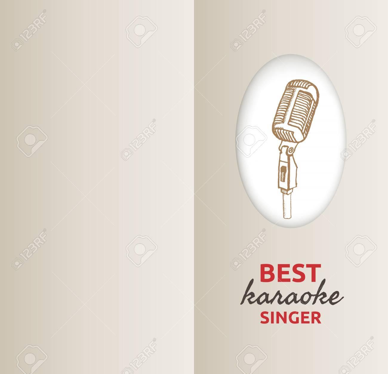 Fondo Retro Micrófono Ilustración De La Vendimia Adecuado Para La Tarjeta De Felicitación La Invitación A La Fiesta De La Noche De Karaoke