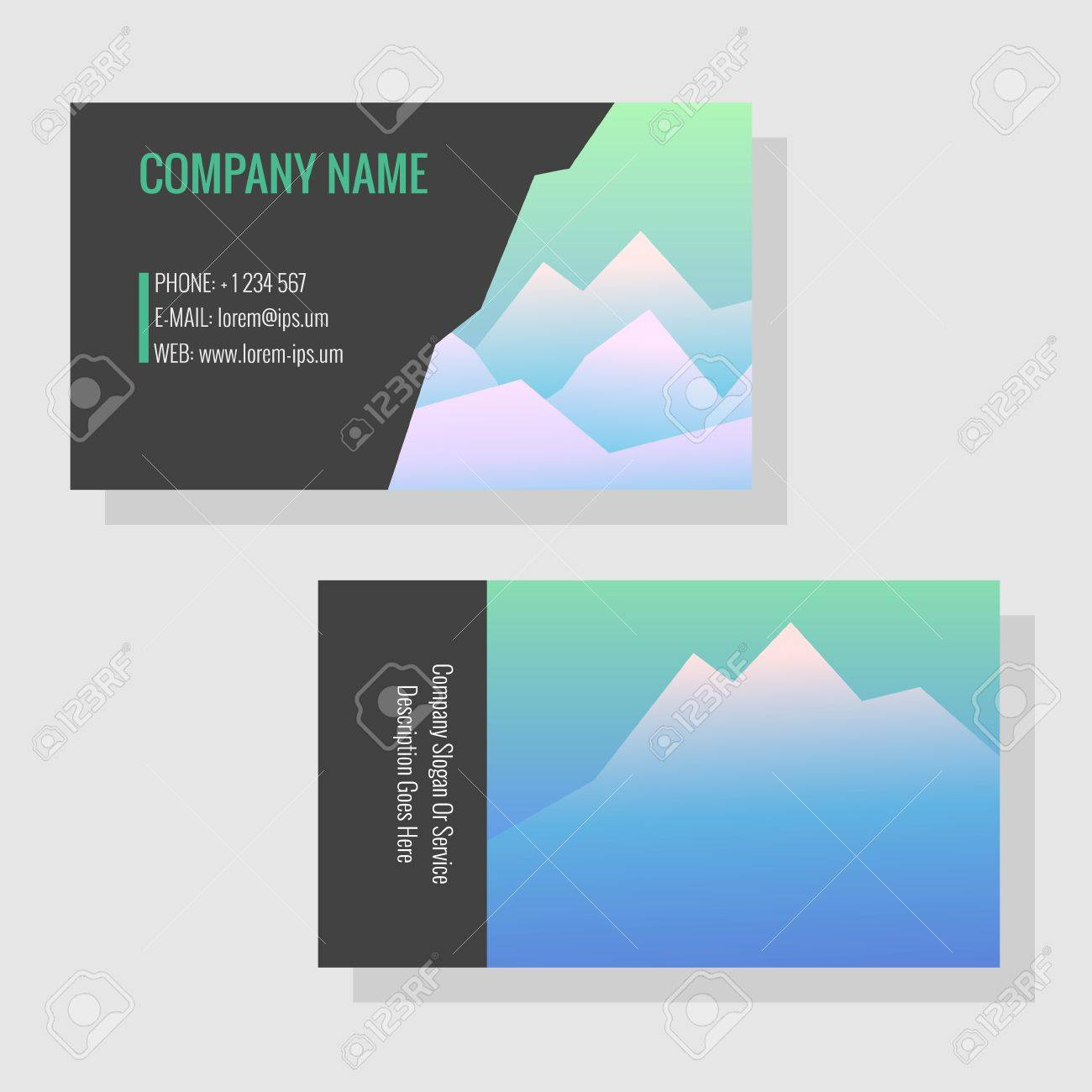 Vector Template For Business Cards. Image Of Snowy Mountains ...